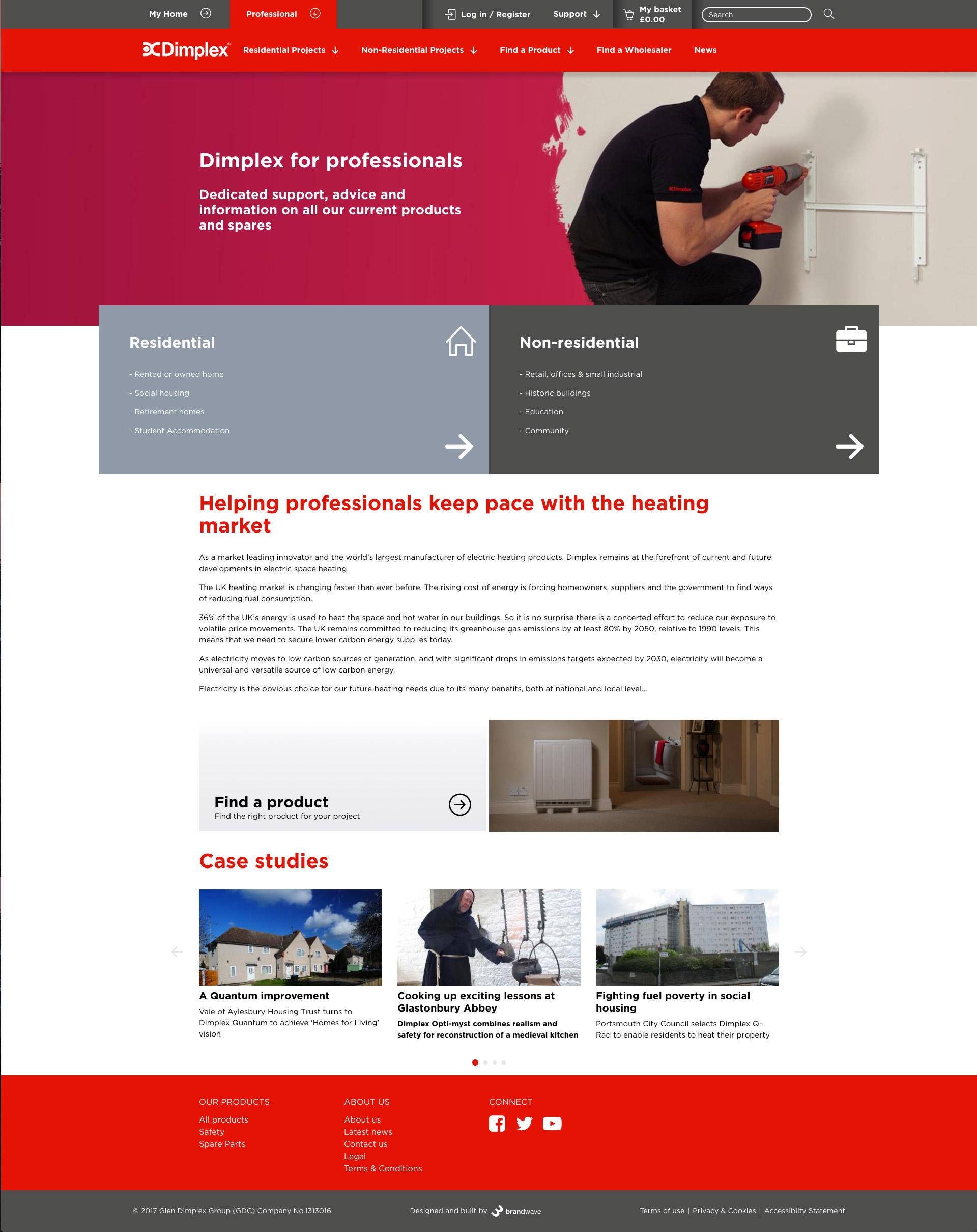 Dimplex professional website