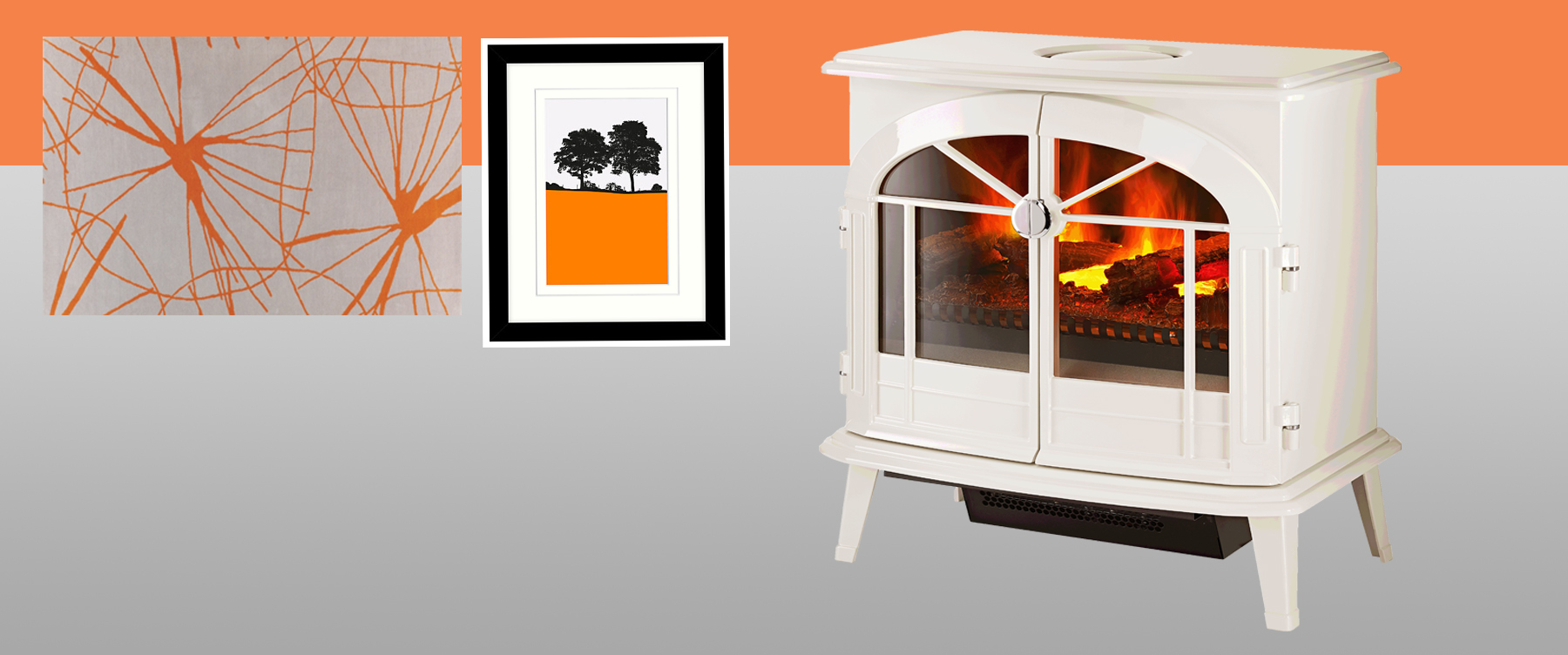 Meribel Opti-myst electric stove for an orange and grey August