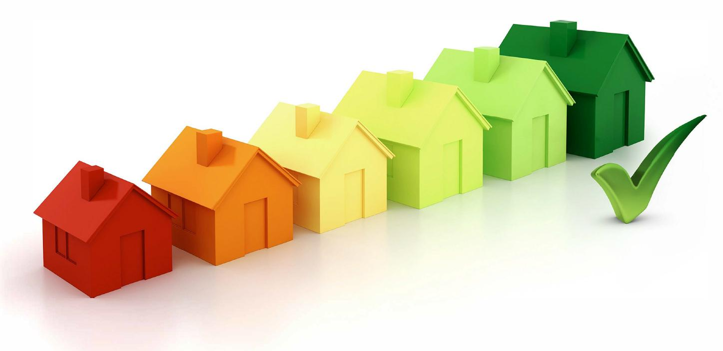 Energy efficiency coloured houses