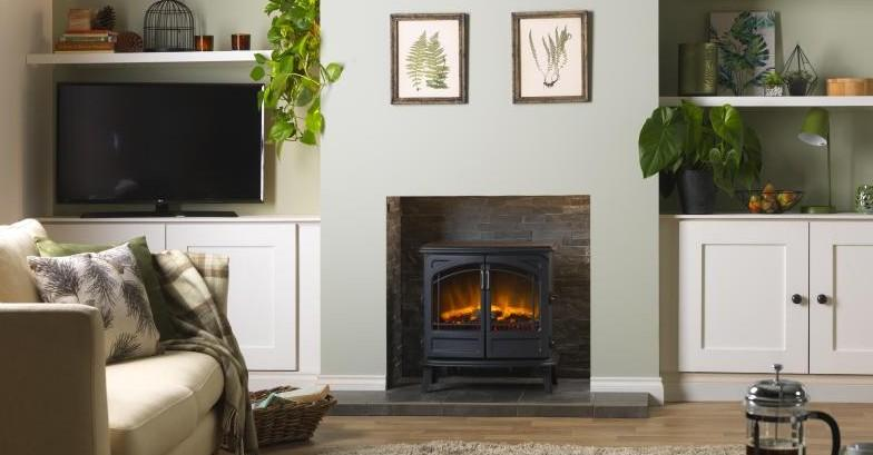 Cassia Noir Optiflame Electric Stove in living room