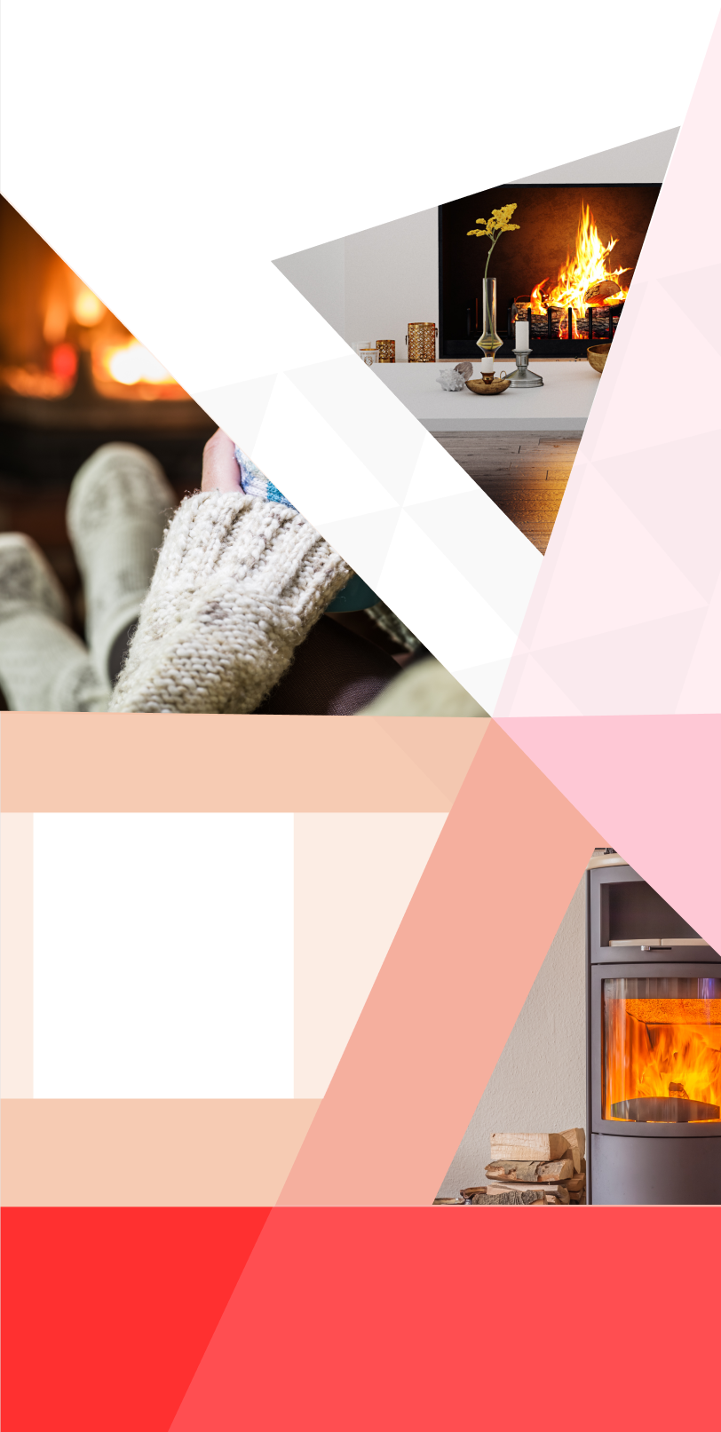 background image with red and white star shape and fireplace photo