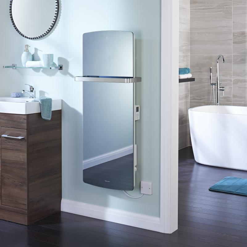 Mirrored bathroom panel heater