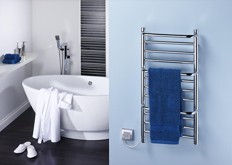 Towel Rails - 120W Chrome Stepped Towel Rail CPTS - CPTS - 1