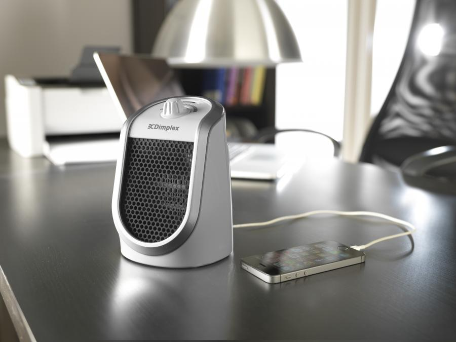 Desk Friend Ceramic Fan Heater With Usb Charging Port