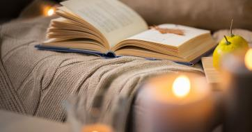 Cosy warm lounge with book